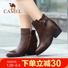 camel骆驼短靴 女鞋女鞋冬季简约时尚侧拉链女靴