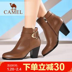 camel骆驼短靴保暖女靴 女鞋粗高跟短靴
