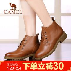 CAMEL骆驼短靴 女鞋牛皮方跟英伦系带女鞋舒适休闲靴中跟靴子女