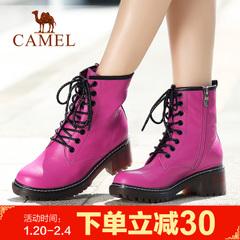camel骆驼女靴 时尚百搭马丁靴女鞋牛皮中筒女靴系带纯色女靴子