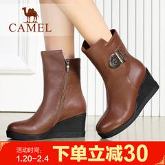 camel骆驼女靴 简约女鞋牛皮 牛皮中筒靴坡跟女靴