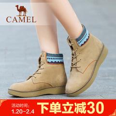 camel骆驼短靴 简约百搭女鞋时尚磨砂平底女靴