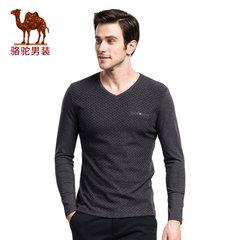 骆驼新款秋季青年V领纯色青春流行休闲长袖上衣T恤 男