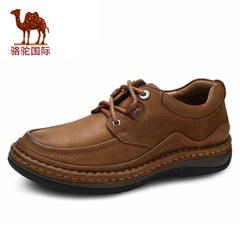 骆驼男鞋 秋季正品真皮日常休闲皮鞋男士系带圆头低帮鞋耐磨