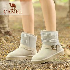 Camel/骆驼短靴女靴冬季磨砂牛皮女鞋平底雪地靴