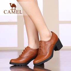 Camel/骆驼女鞋 舒适休闲打蜡牛皮圆头系带粗高跟深口女鞋