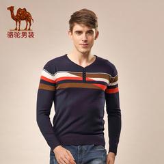 Camel/骆驼男装秋季修身套头条纹圆领男士撞色青春长袖毛衣