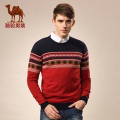 Camel/骆驼男装秋季新款套头圆领男士几何图案羊毛休闲毛衣