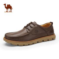 骆驼男鞋秋冬头层牛皮日常休闲皮鞋男士系带休闲鞋