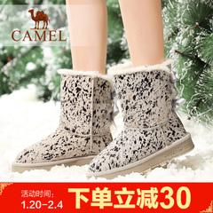 Camel/骆驼雪地靴 保暖雪地靴印花中筒靴女靴冬季女靴子休闲靴