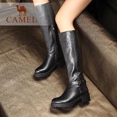 Camel/駱駝女鞋 休閑時尚 牛皮圓頭中跟拉鏈長筒女靴