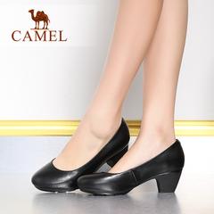Camel/骆驼女鞋 舒适职业工作鞋 夏新款粗跟女单鞋套脚高跟鞋子女