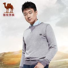Camel/骆驼男装秋季微弹套头圆领男士休闲时尚青春潮流毛衣男