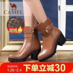 camel骆驼女靴时尚粗跟中筒靴加绒女靴冬季保暖女靴女鞋