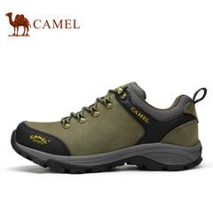 Camel骆驼户外登山鞋 男款低帮系带磨砂皮 低帮耐磨登山鞋男鞋