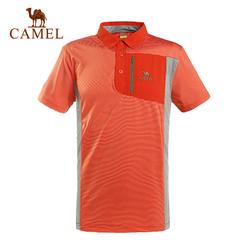 CAMEL骆驼户外男款速干翻领T恤男士休闲短袖T恤正品  5T1A09144