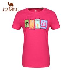 CAMEL骆驼户外女款休闲圆领T恤夏季舒服休闲女士T恤正品5T2A32112