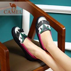 Camel/骆驼女鞋 舒适轻便牛皮圆头套脚平底休闲女鞋甜美豆豆鞋