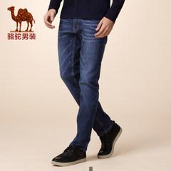 Camel骆驼 新品秋款青年纯色猫须直筒青春流行休闲长裤牛仔裤男
