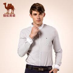 Camel骆驼男装 青春流行扣领尖领上衣微弹条纹修身休闲长袖衬衫