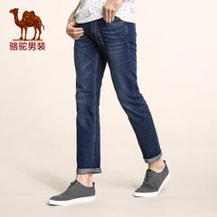 Camel/骆驼男装新品秋季青年纯色猫须直筒青春流行长裤牛仔裤