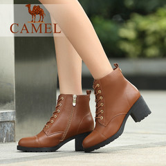 Camel/骆驼短靴水染牛皮圆头粗高跟女鞋女鞋骑士女