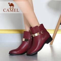 Camel/骆驼短靴油蜡小圆头中跟女鞋女靴 女鞋