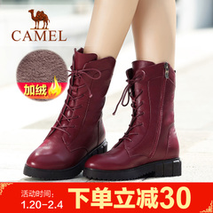camel骆驼女靴冬女鞋中筒靴时尚简约加绒女靴