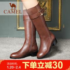 camel骆驼女靴 冬日休闲女靴优雅长靴羊皮高靴长筒靴