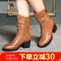 Camel/骆驼女靴简约时尚 侧拉链中筒靴女靴纯色休闲时装女靴子