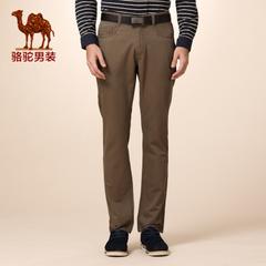 Camel/骆驼男装冬款新品无弹中腰纯色直筒休闲裤休闲长裤