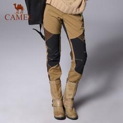 CAMEL骆驼 透气防风防水保暖徒步登山女士修身长裤 户外软壳裤女
