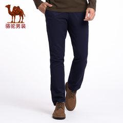骆驼 春秋新款时尚青年纯棉直筒中腰商务长裤 纯色无弹休闲裤男