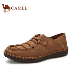 CAMEL骆驼牌男鞋手工缝制真皮日常休闲皮鞋男士系带低帮男鞋子