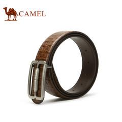 【清仓】Camel骆驼男士皮带平滑扣牛皮男腰带鳄鱼纹青年裤带时尚