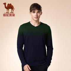 Camel/骆驼男装 新品秋季青年V领撞色活力休闲长袖打底衫T恤