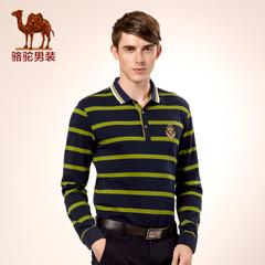 Camel/骆驼男装 秋季青年绅士条纹打底衫商务休闲长袖T恤
