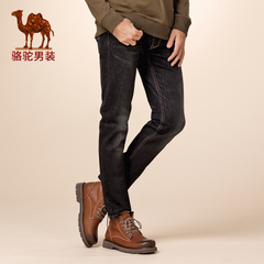 Camel/骆驼男装 冬款微弹中腰长裤商务休闲修脚型牛仔