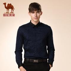 Camel/骆驼男装 衬衫新品秋季青年修身美式休闲植绒长袖衬衣