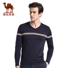 Camel/骆驼男装 新品冬季微弹套头男士V领提花商务休闲毛衣