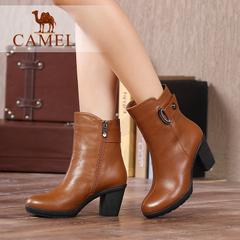 Camel/骆驼女靴冬季优雅加绒中筒靴粗跟高跟靴