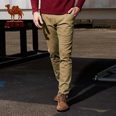 Camel/骆驼男装 纯棉商务休闲长裤 纯色小脚休闲裤男士直筒裤子