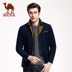 骆驼男装 冬款男长袖修身青年双层领单排扣纯色时尚长袖棉服男