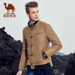 駱駝男裝 冬款青年立領純色休閑單排扣長袖外套棉衣男