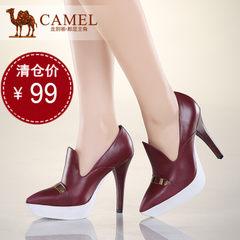 camel骆驼女鞋 个性典雅牛皮尖头超高跟防水台女鞋