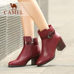 Camel/骆驼短靴水染牛皮圆头粗高跟扣带女鞋女短靴