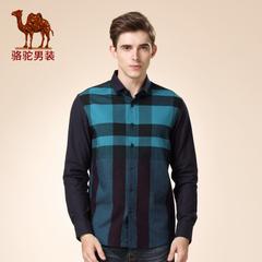 Camel/骆驼男装 新品秋季款长袖修身渐变时尚格子日常衬衫男潮