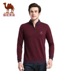 Camel/骆驼男装春款青年立领纯色商务休闲长袖T恤男