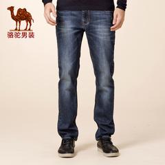 Camel/骆驼男装冬款新品微弹中腰合体直筒直脚牛仔裤休闲长裤
