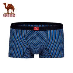 骆驼男装 柔软中腰条纹平角裤强弹力内裤 运动休闲男内裤